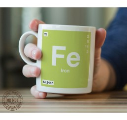 Scientific Mug featuring the Element and Symbol Iron - Printed Ceramic Mug