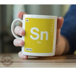 Scientific Mug featuring the Element and Symbol Tin - Printed Ceramic Mug
